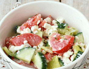 Cottage Cheese topped with Cucumber, Tomato, and Avocado Salad