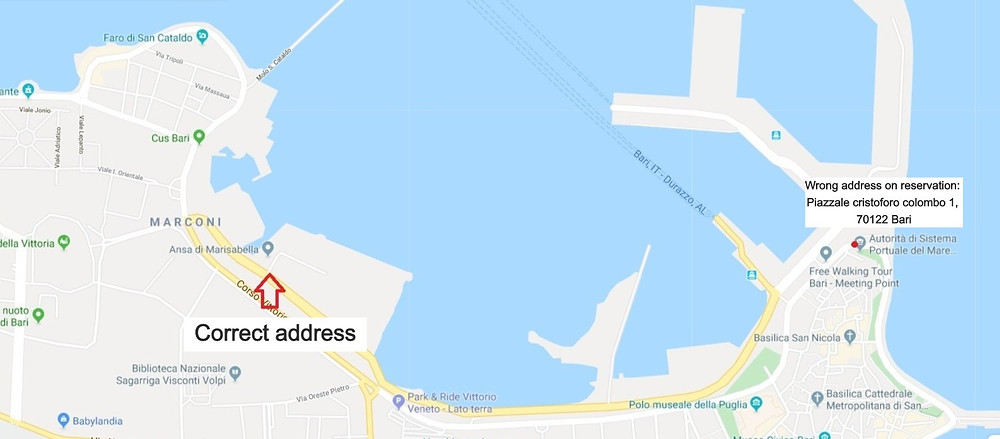 correct address port bari