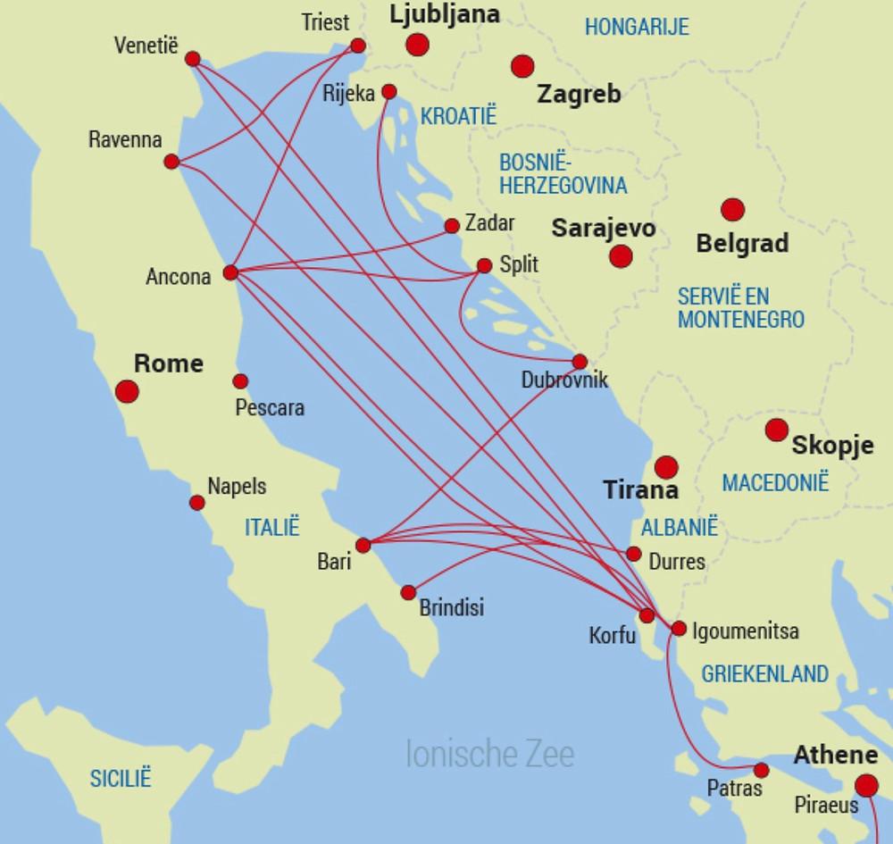 Route ferry veerboot Bari Italie - Durres Albanie