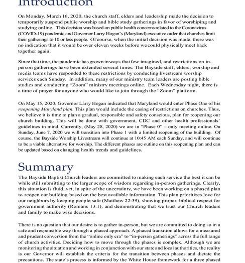 Bayide Phased Reopening Plan - ITEM 2.2.