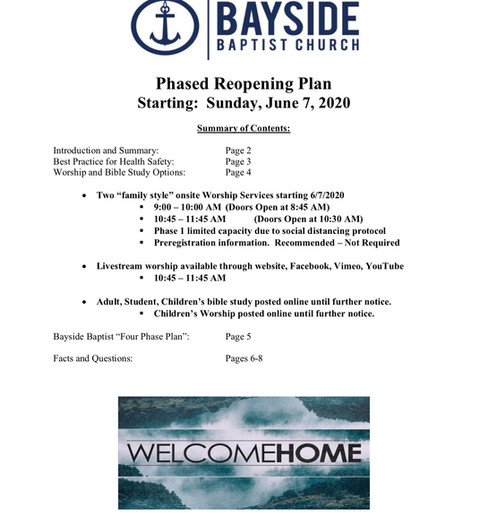Bayide Phased Reopening Plan - ITEM 2.1.