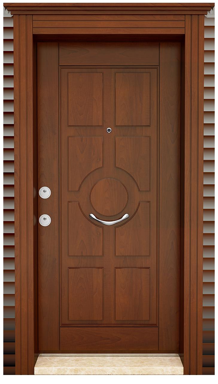 Stahltür mit Holzfarbe Walnuss