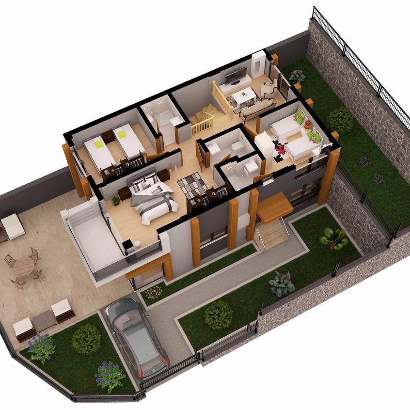 3D Villa Grundriss Visualisierung