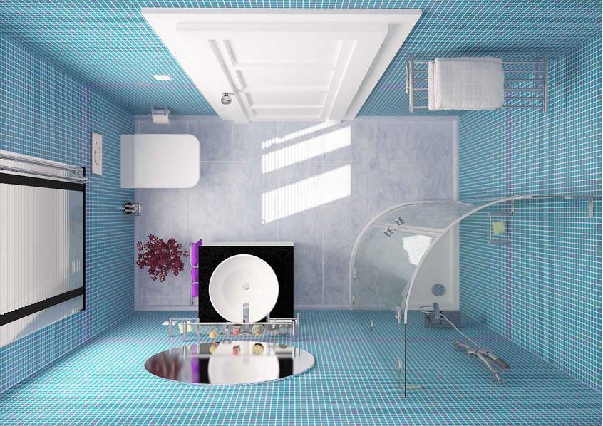 iç mekan banyo üst görünüş 3d modelleme