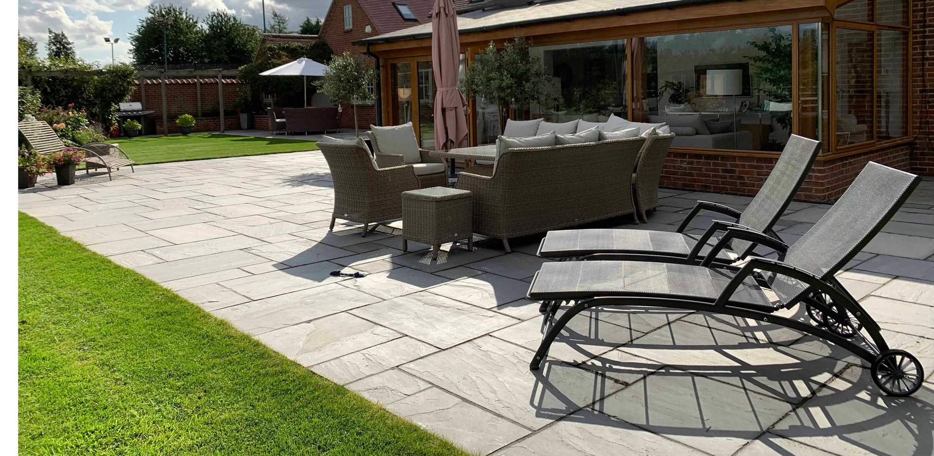Silver Grey Indian Sandstone patio to compliment stylish conservatory in Southwell
