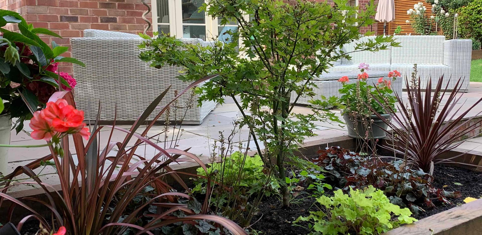 Oak sleeper planting beds in Southwell