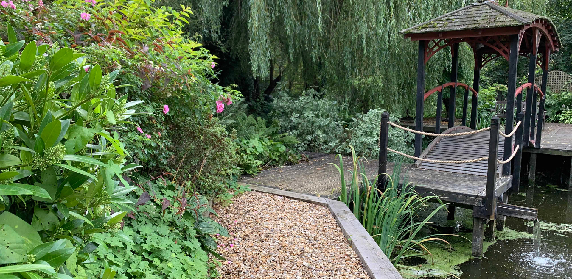 Newel posts with oak sleepers and decking boards in Burton Joyce