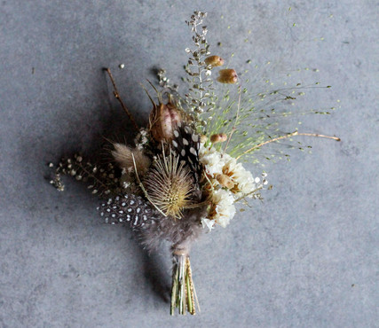 Dried Flower Feather Buttonhole with Gol