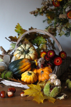 Harvest Autumnal Event Flowers and Gourd