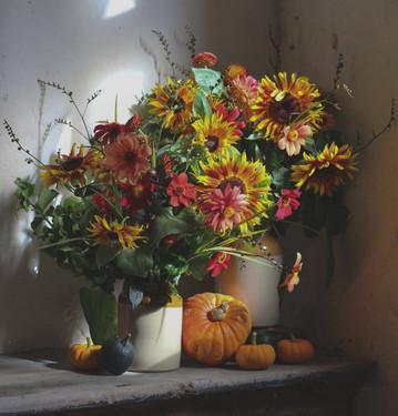 Sunflower Pumpkin Earthenware Flower Arr