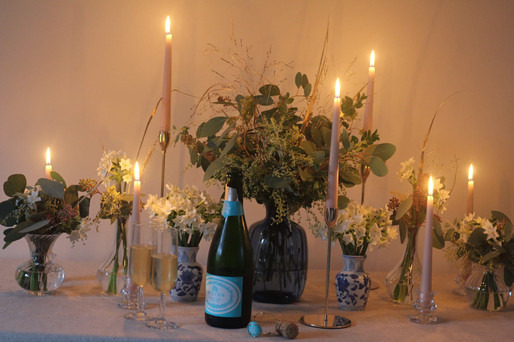 Pink Candles Gold Eucalyptus Champagne T