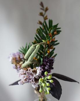 Purple Green Wedding Buttonhole with Dri