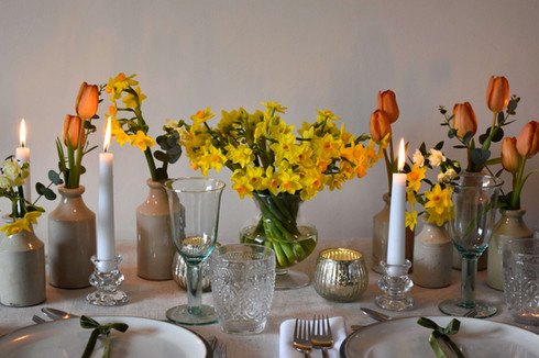 Cream Gold Spring Table Kent Daffodils T