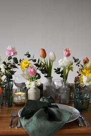 British Spring Wedding Table Tulips Daff
