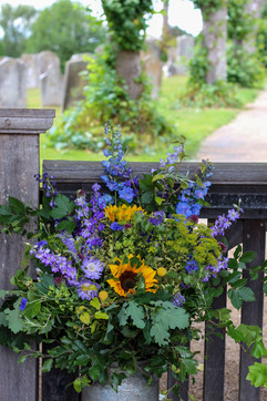 Summer Blue Yellow Church Wedding Flower