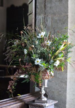 Heather Cosmos Eucalyptus Church Flowers
