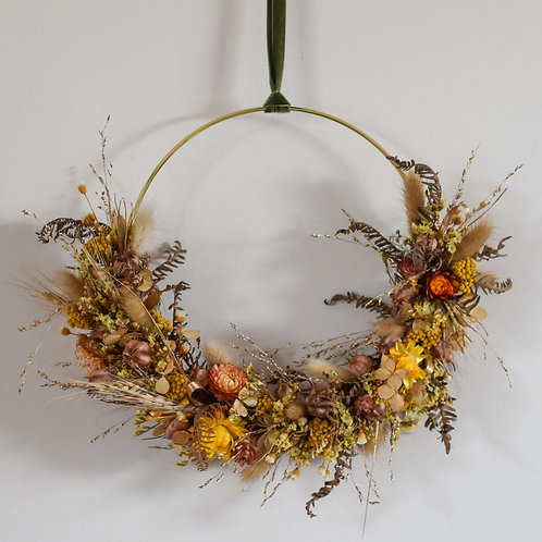 Golden Sunshine Dried Flower Hoop 20cm