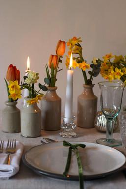 Orange and Yellow Spring Cream Vase Seve