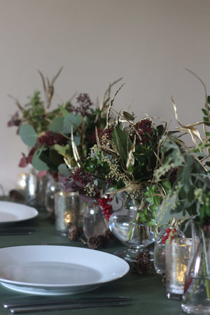Gold Green Muted Tones Table Flowers Dec