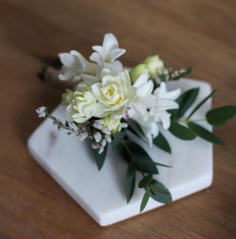 Spring White Cream Grooms Buttonhole Ken