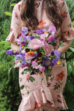 Colourful Bridesmaid Summer Bouquet Scen