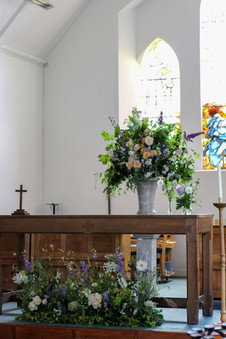 Meadow and Urn Church Flowers Wedding.JP