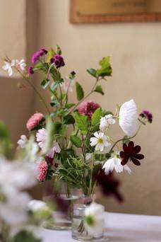 Soft Pinks White British Summer Flowers.