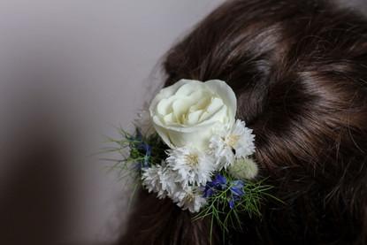 White Blue Wedding Hair Flowers Sevenoak