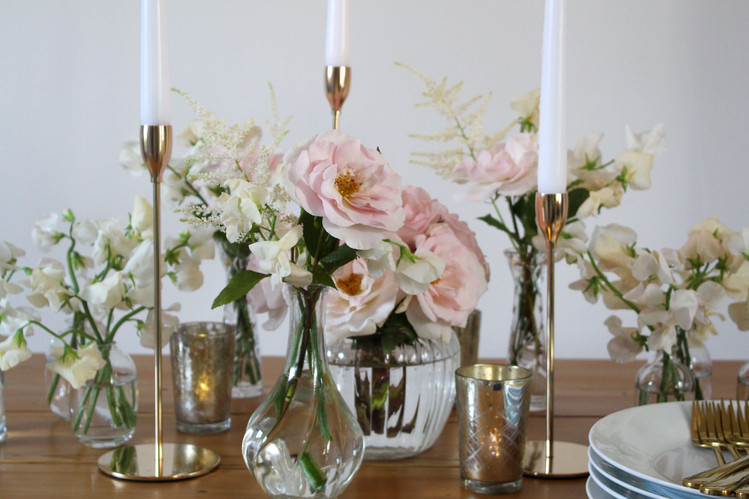 Scented Sweet Peas Roses Blush Table Flo