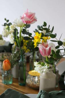 Vintage Glass Spring Flowers Colourful.J
