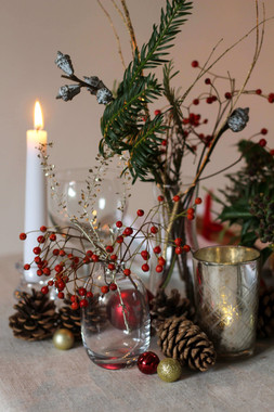 Event Table Festive Foliage Candles Baub