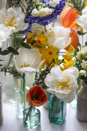 Double Petal White Tulips Bud Vases.JPG