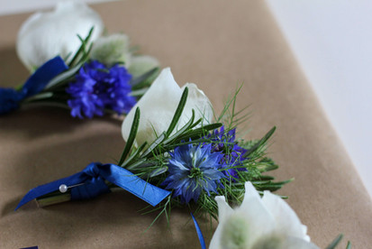 Blue White Grooms Buttonhole Kent.JPG