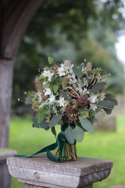 Delicate Green White Winter Bouquet Wedd