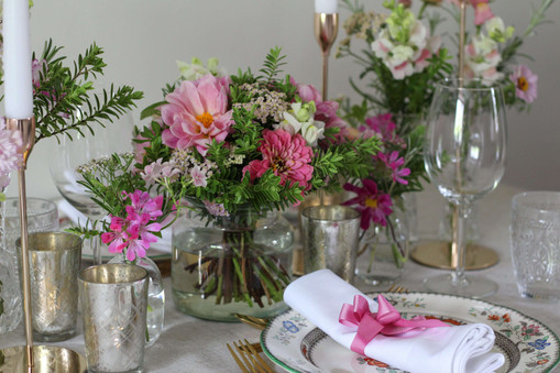 Gold Glass Pink Green Table Flowers.JPG