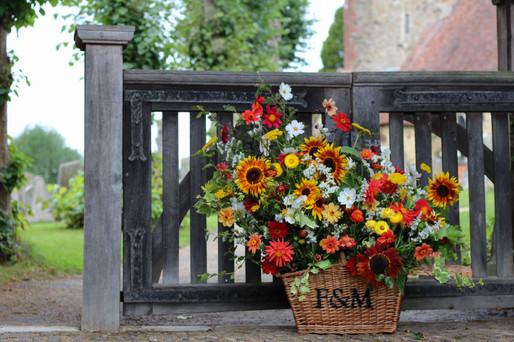 Autumn Church Entrance Flowers Sunflower