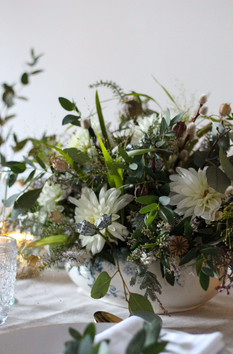 Dahlias Grasses White Green Table Centre