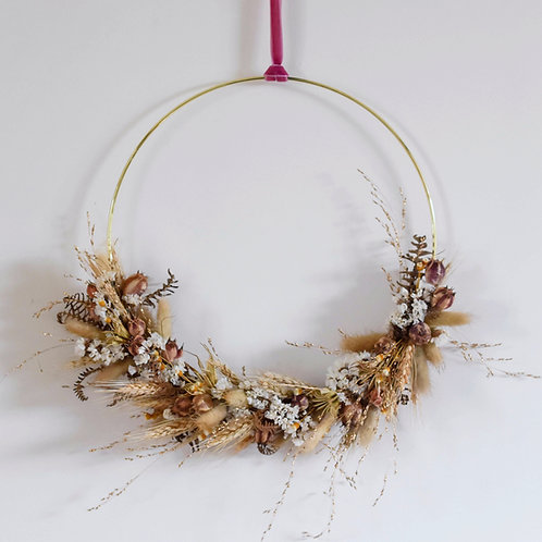Golden Natural Dried Flower Hoop 27.5cm