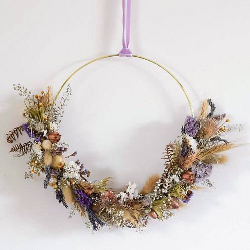Natural Lavendar Dried Flower Hoop 22cm