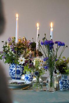Blue White Ceramic Vases Flowers Candles
