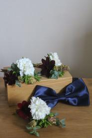 White Red Buttonhole Eucalyptus Bow Tie.