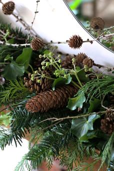 Mantelpiece garland Fir Pinecones Ivy Ke