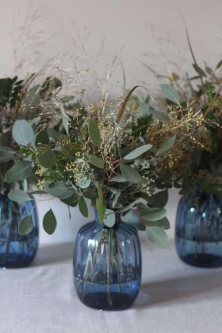 Blue Vase Eucalyptus Gold Grass Floral A