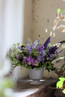 Green Purple Flower Arrangement Textured