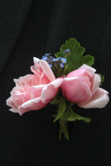 Pink Roses Forget Me Not Buttonhole Kent