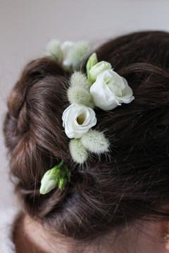White Textured Hair Flowers Bridesmaid.J