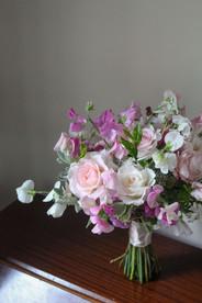 Rose Sweet Pea Pink Blush Wedding Bouque
