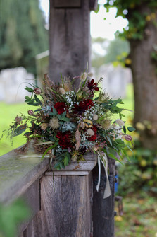 Red Green Browns Bridal Bouquet Ightham.