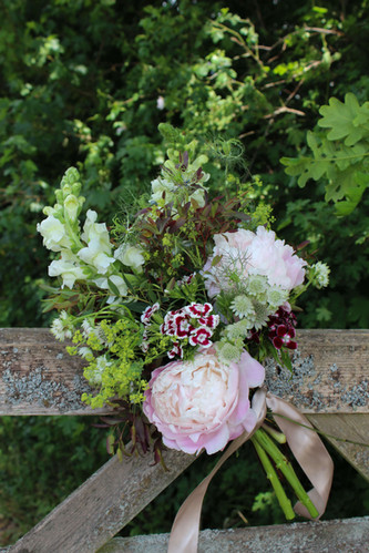 Country Gate Party Flowers with Peonies.