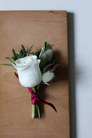 White Rose Bunny Tail Buttonhole.JPG